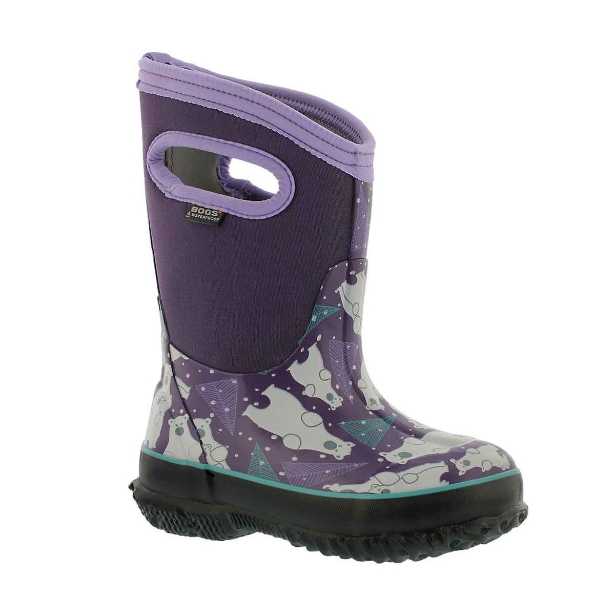 Girls' CLASSIC BEARS purple multi waterproof boots