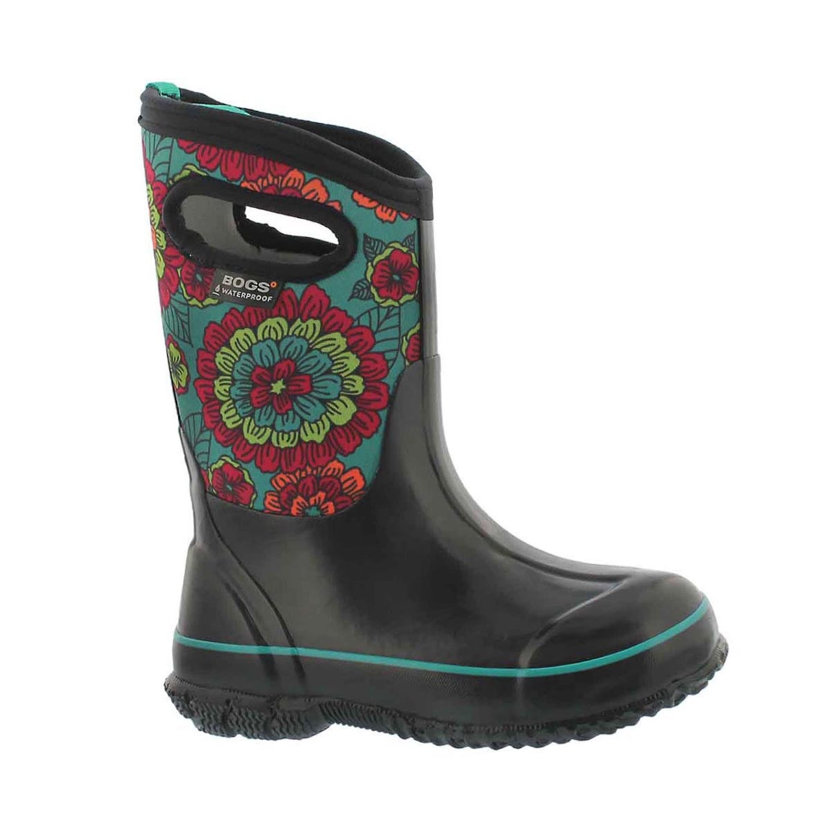Girls' CLASSIC PANSIES blk multi waterproof boots