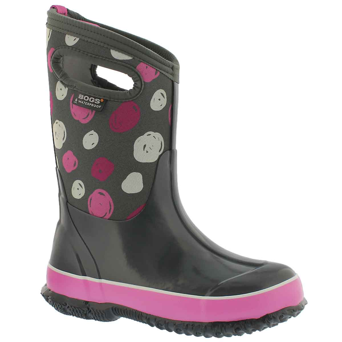 Girls' CLASSIC SKETCHED DOTS grey waterproof boots