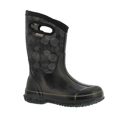 Grls Classic Rain blk multi wtpf boot