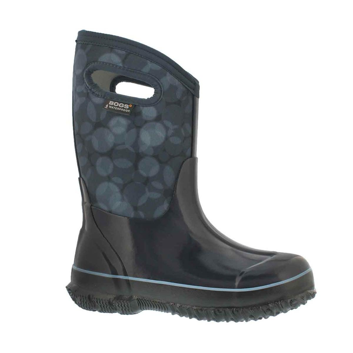 Girls' CLASSIC RN blue multi waterproof boots