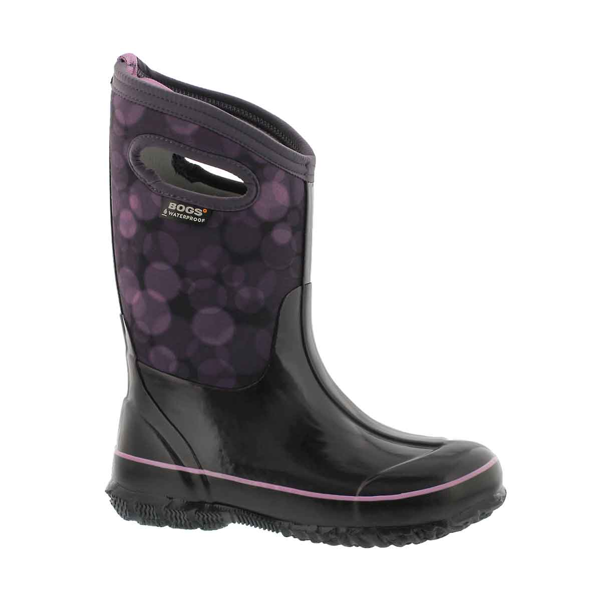 Girls' CLASSIC RN purple multi waterproof boots