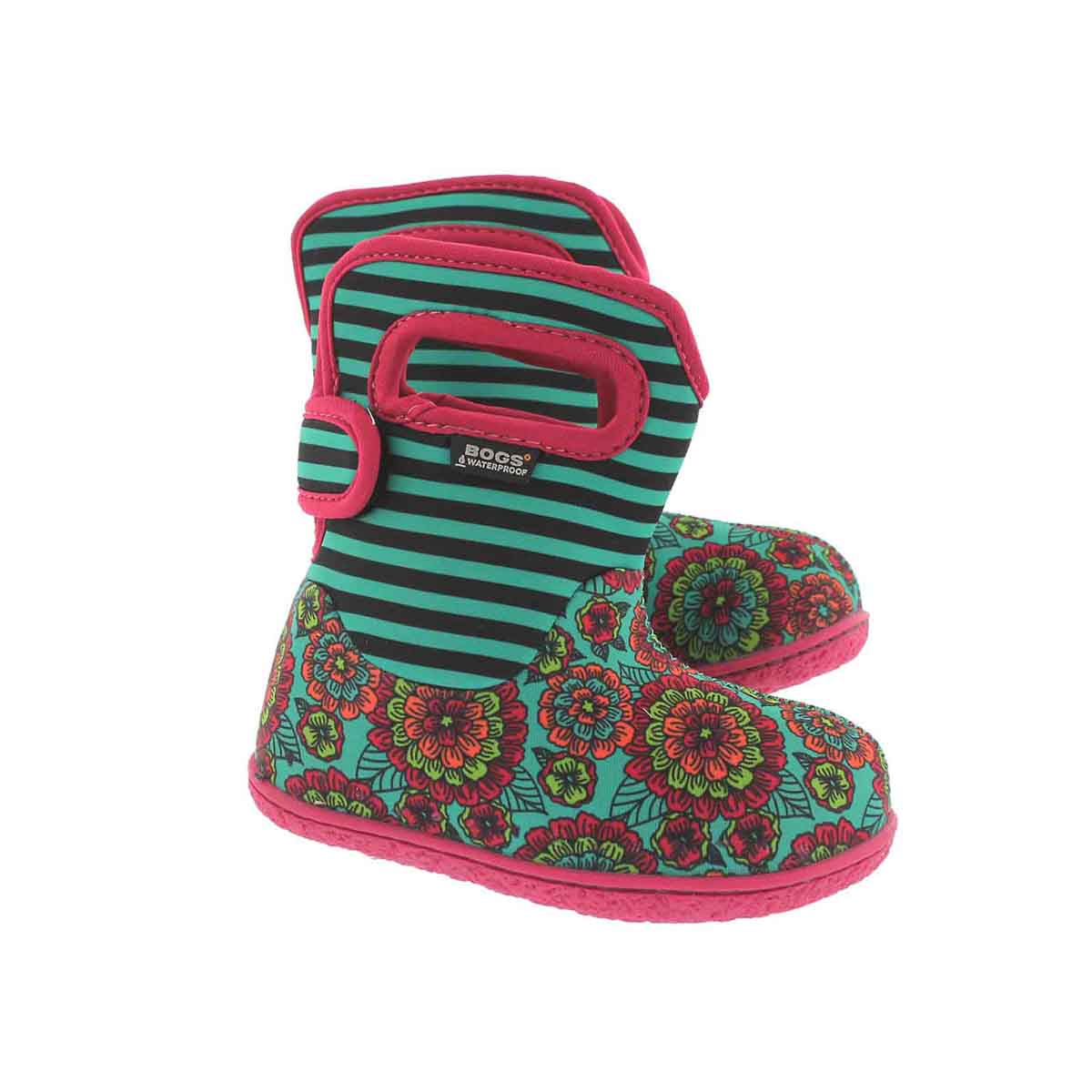 Inf-g Pansy Stripe emerald mlt wtpf boot