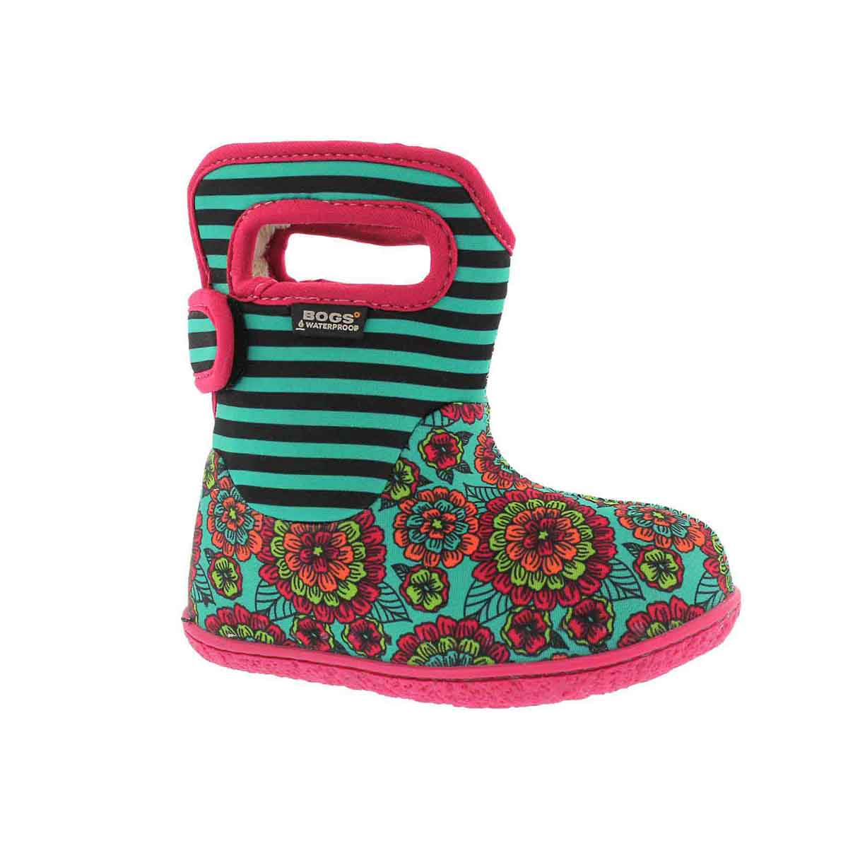 Infant girls PANSY STRIPE emerald mult boot