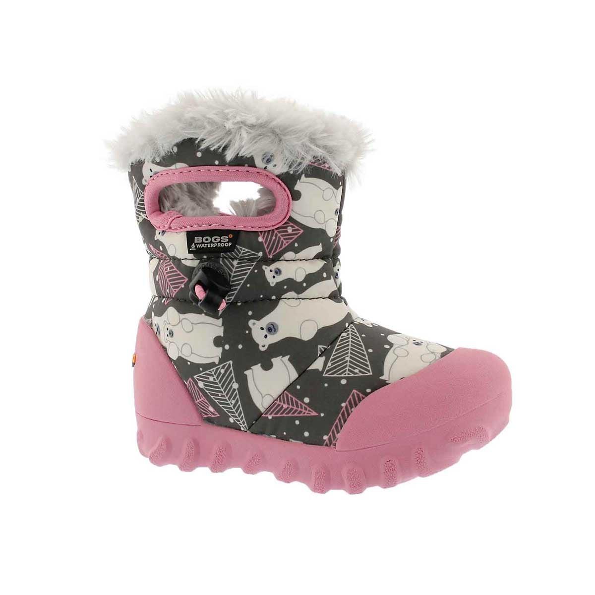 Infant girls' B-MOC BEARS dark grey multi boot