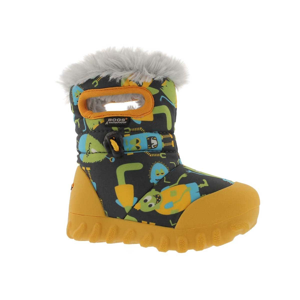 Infants' B-MOC MONSTERS dk gry waterproof boots