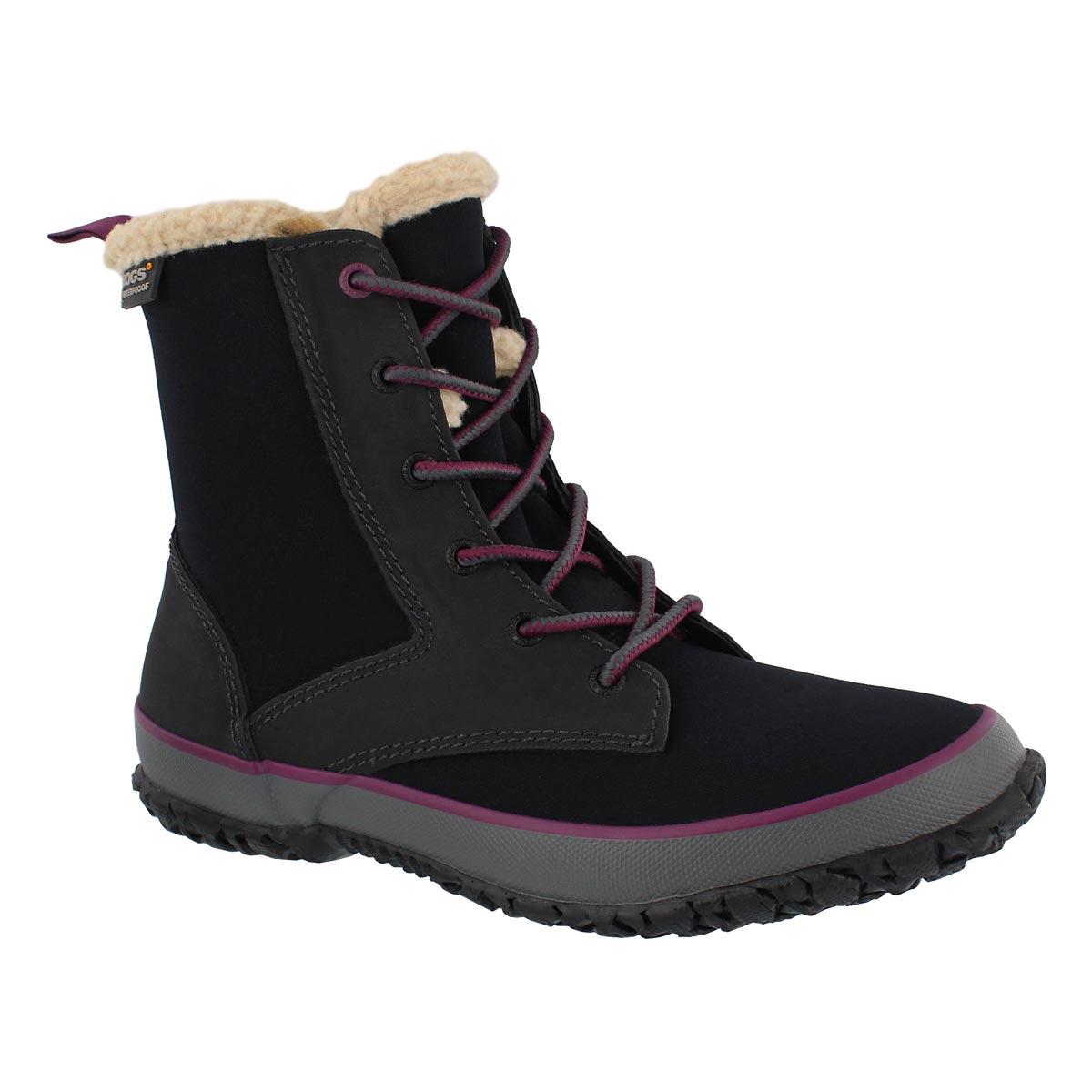 Women's SKYLAR black laceup waterproof boots