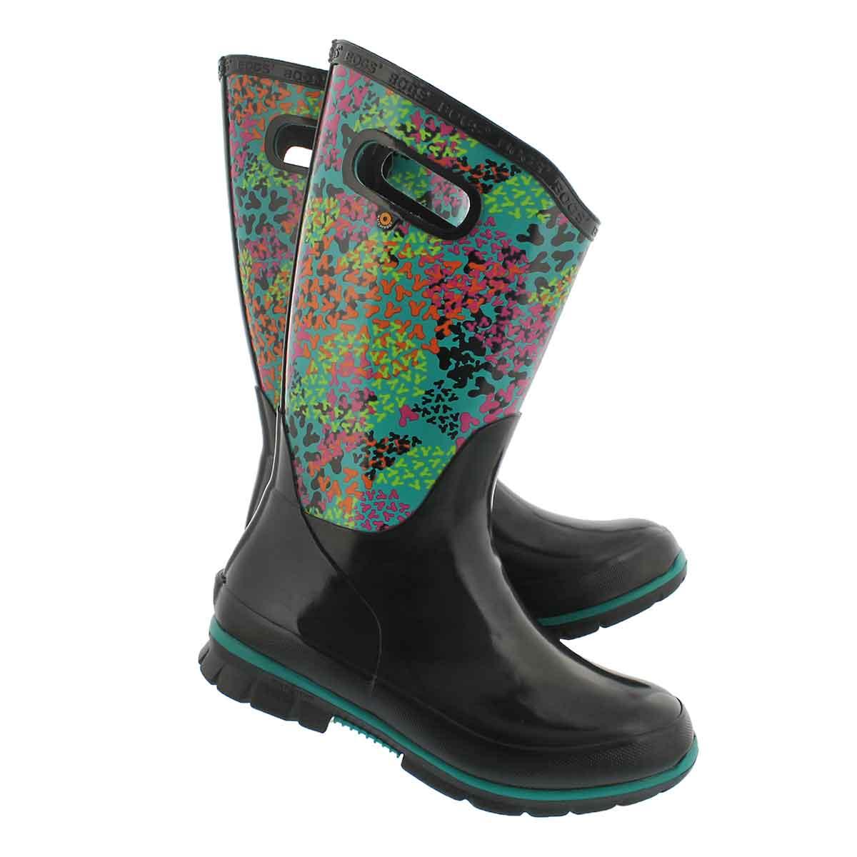 Lds Berkley FP blk mlti wtpf rain boot