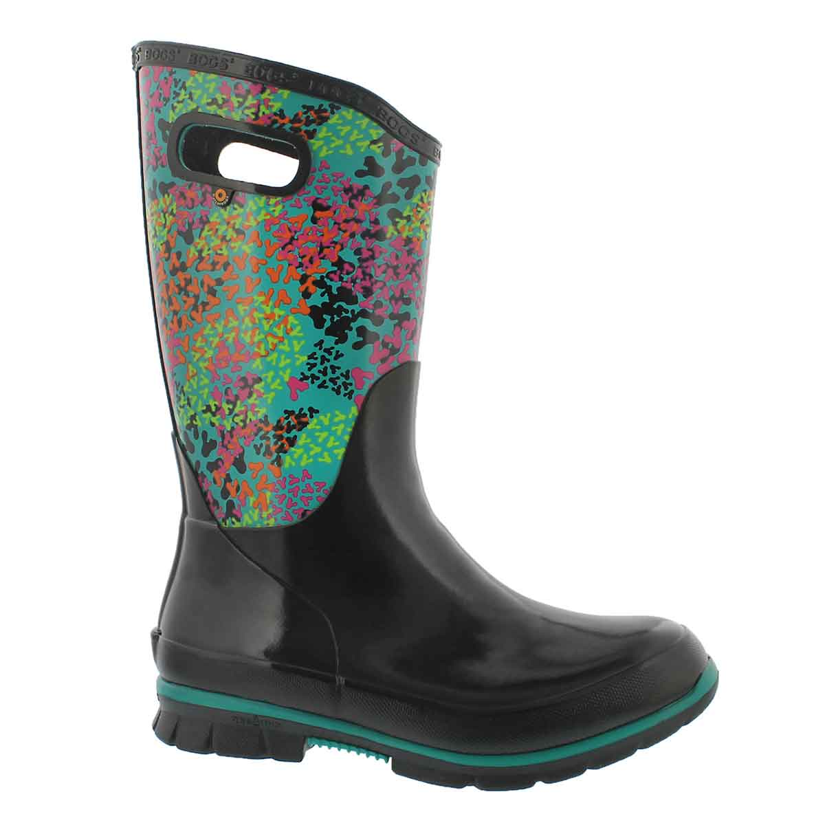 Women's BERKLEY FP blk multi waterproof rain boots