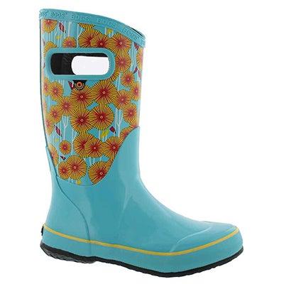 Grls Aster light blue multi rain boot