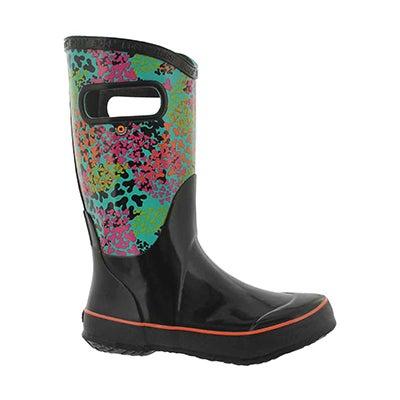 Grls Footprints black multi rain boot