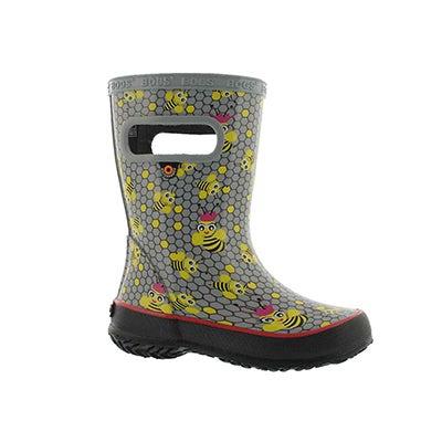 Inf-b Skipper Bees gry mlti rain boot