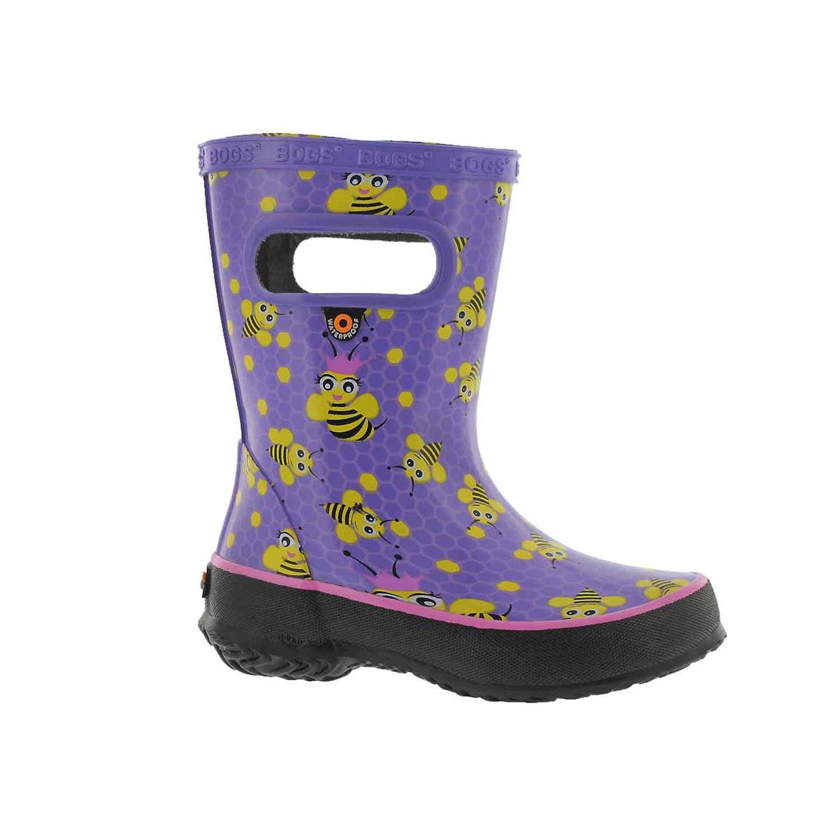 Infants' SKIPPER BEES lavender multi rain boots