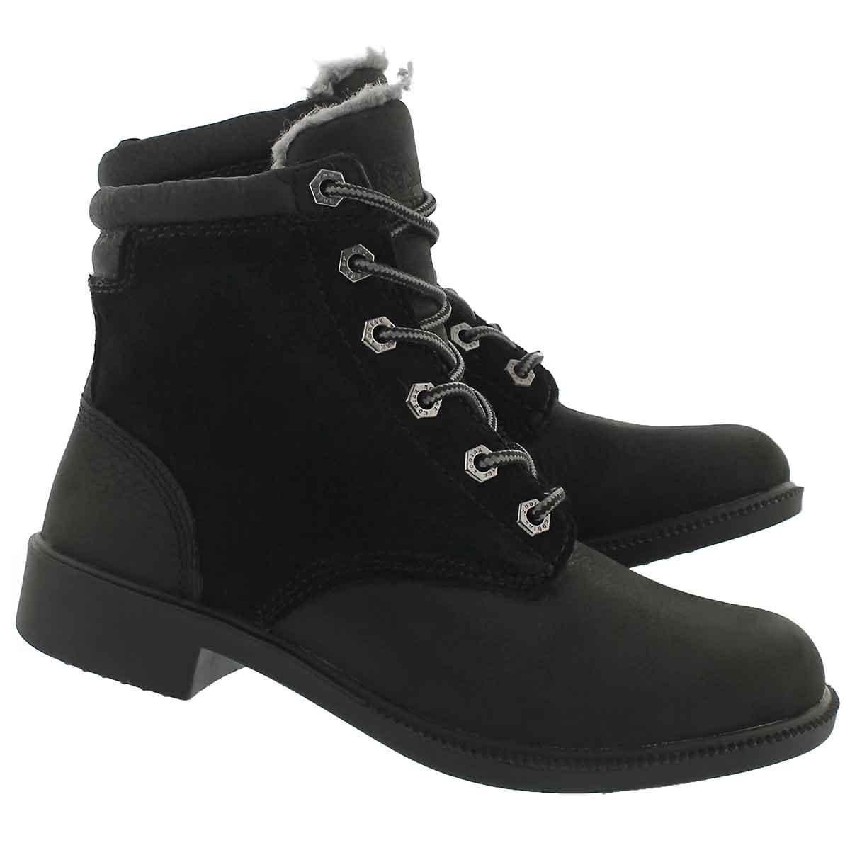 Lds OriginalFleece blk wtpf laceup boot