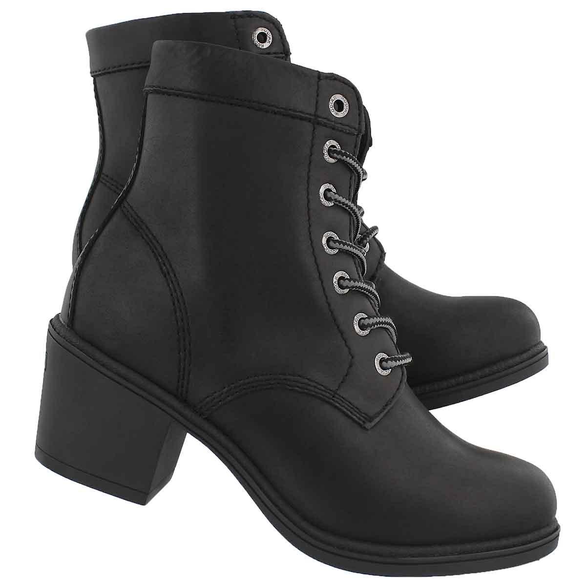 Lds Claire blk wtpf lace up ankle bootie