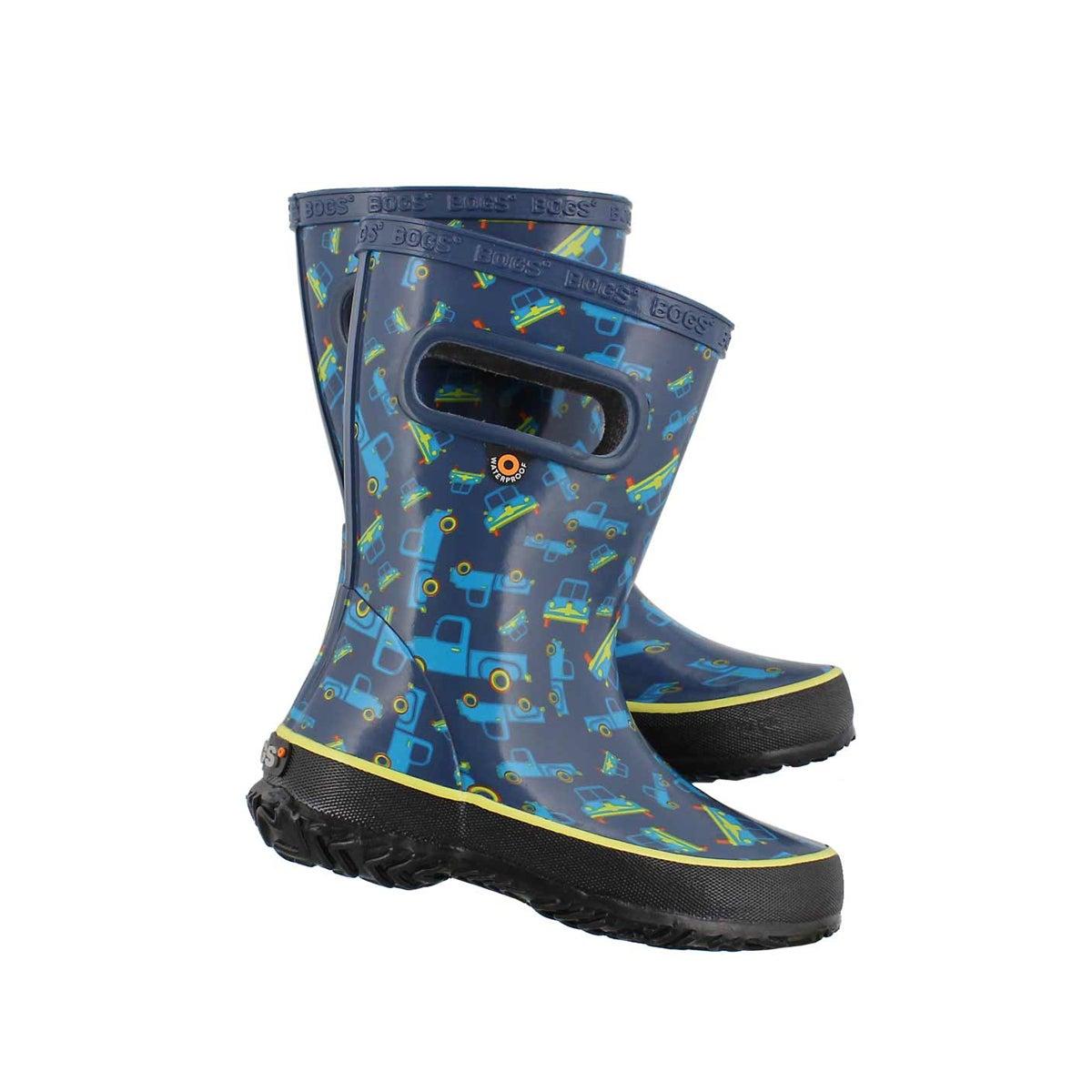 Inf-b Skipper Trucks blu mlti rain boot