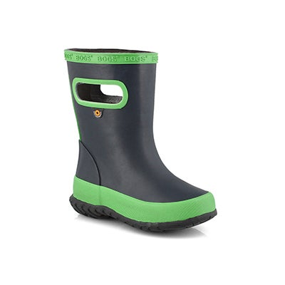 Inf-b Skipper Solid navy/green rain boot
