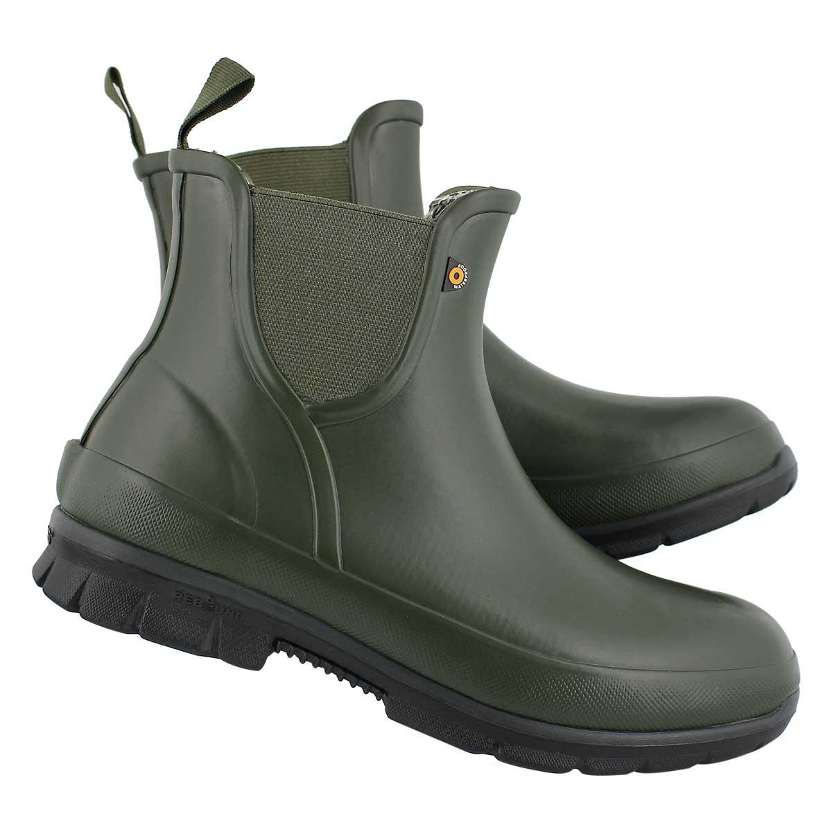Lds Amanda Plush dkgrn wtpf chelsea boot