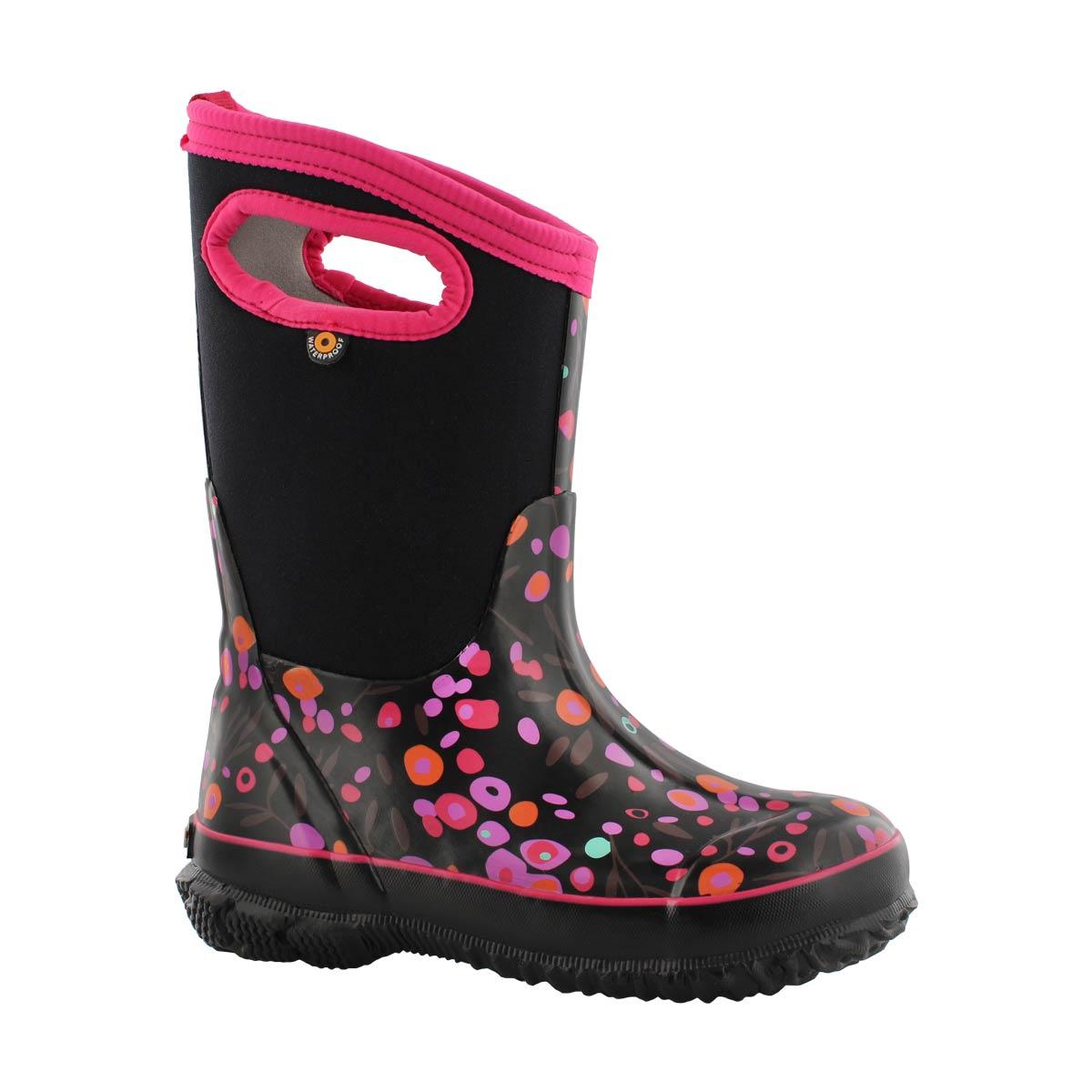 Girls' CLASSIC CATTAIL blk multi waterproof boots