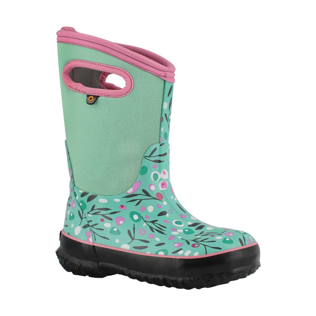 Girls' CLASSIC CATTAIL mint multi waterproof boots