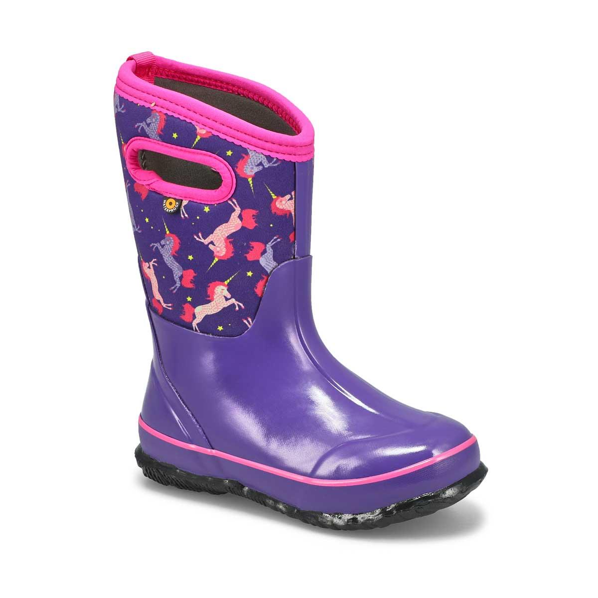 Grls Classic Unicorns ppl wtpf wntr boot
