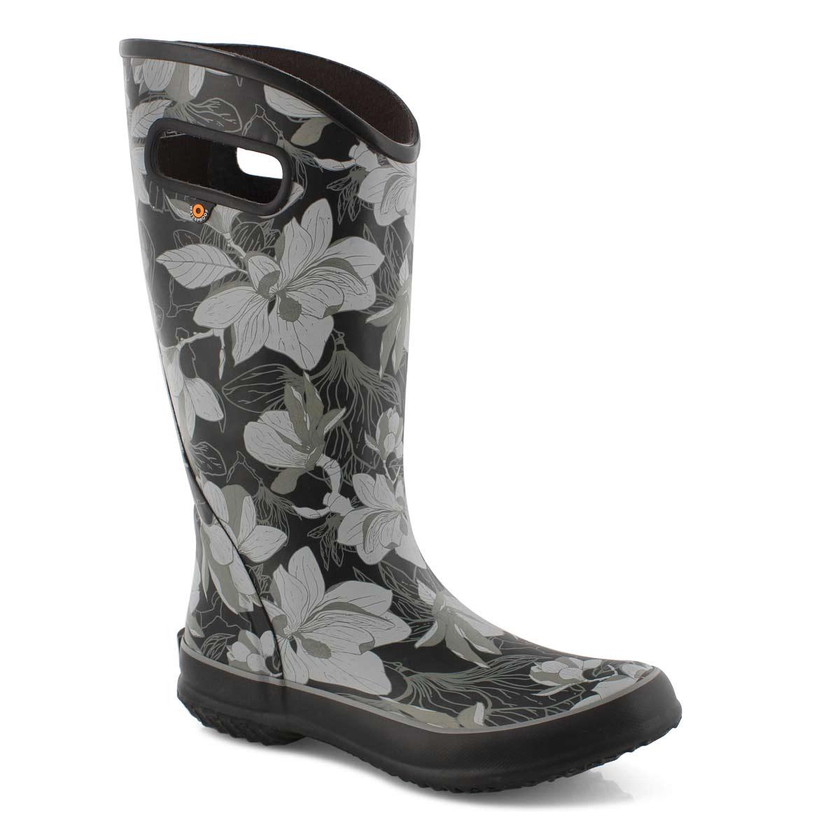 Lds Spring Vintage black multi rain boot