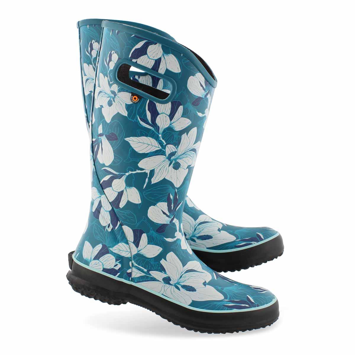 Lds Spring Vintage aqua multi rain boot