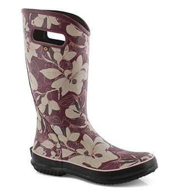 Lds Spring Vintage violet mlti rain boot