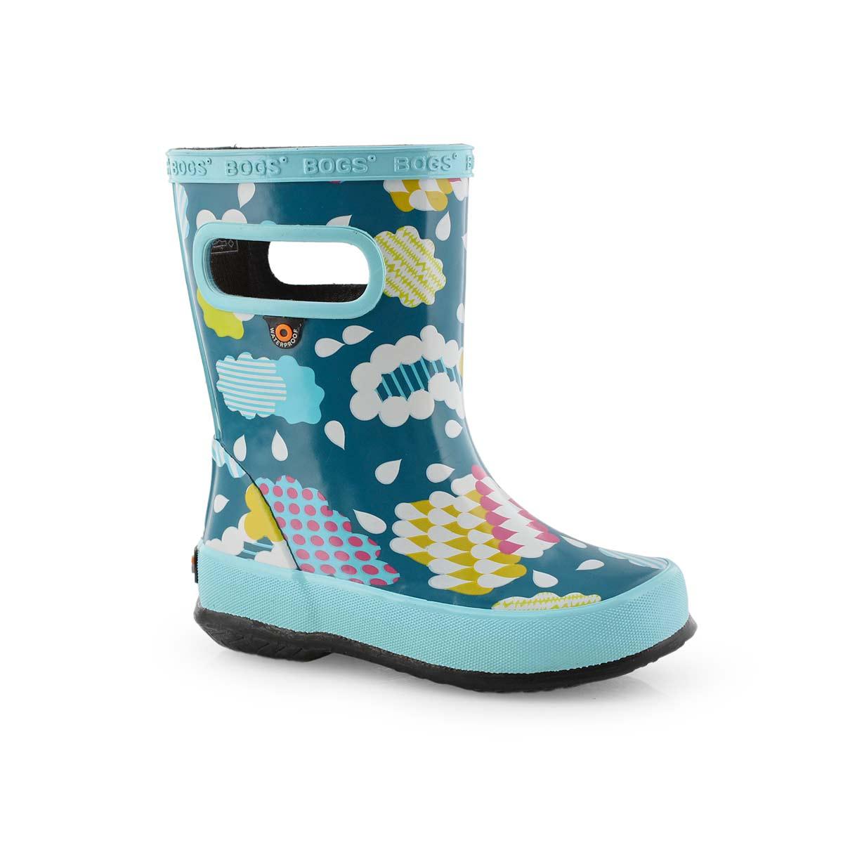 Inf-g Skipper Clouds aqua mlti rain boot