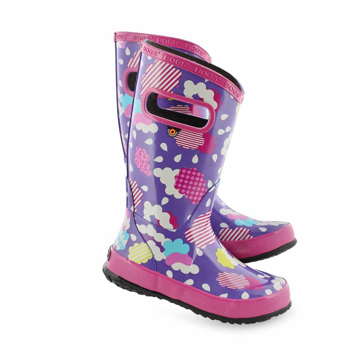 Grls Rain Boot Clouds vio mlti rain boot