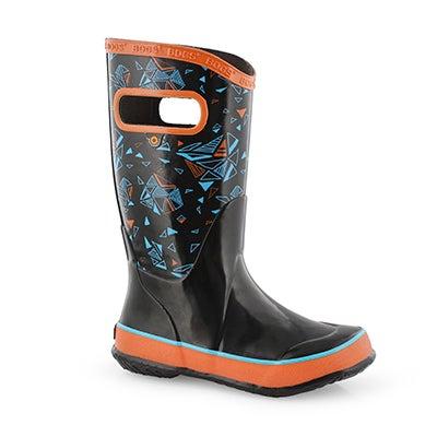 Bys Rain Boot Trigeo blk mlti rain boot