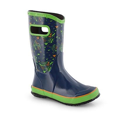 Bys Rain Boot Trigeo blu mlti rain boot