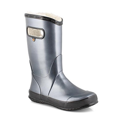Grls RainbootMetallcPlush steel rainboot