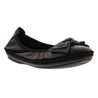 Lds Pippa 01 black leather flat