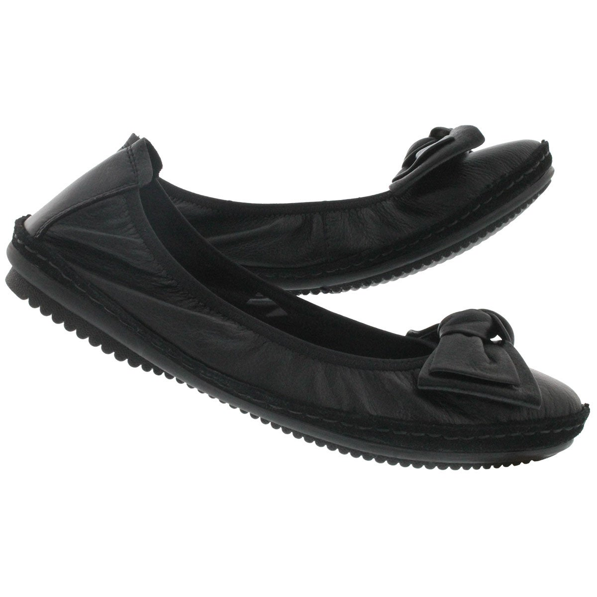 Lds Pippa 01 black leather flat