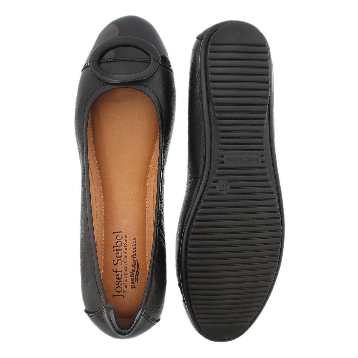 Lds Pippa 19 black leather dress flat