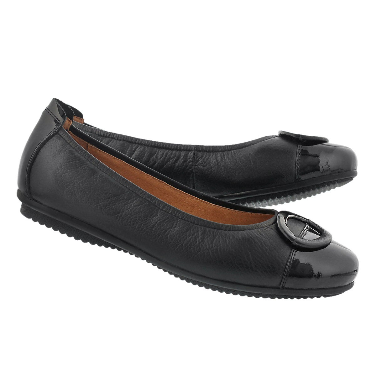 Lds Pippa 19 black leather dress flat
