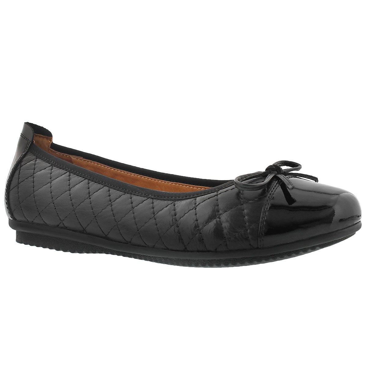 Lds Pippa 25 blk quilted ballerina flat