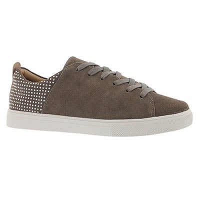 Lds Moda Back Lit taupe lace up sneaker