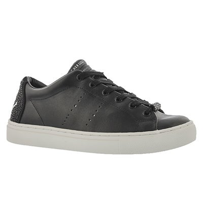 Lds Side Street B Happy blk lace up snkr