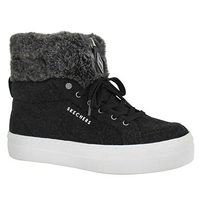 Lds Alba black lace up sneaker boot