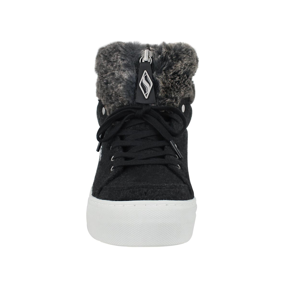Lds Alba blk lace up snkr boot