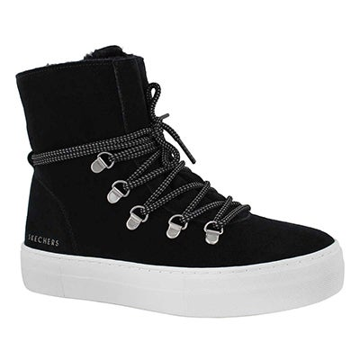 Lds Alba black lace up tall sneaker boot