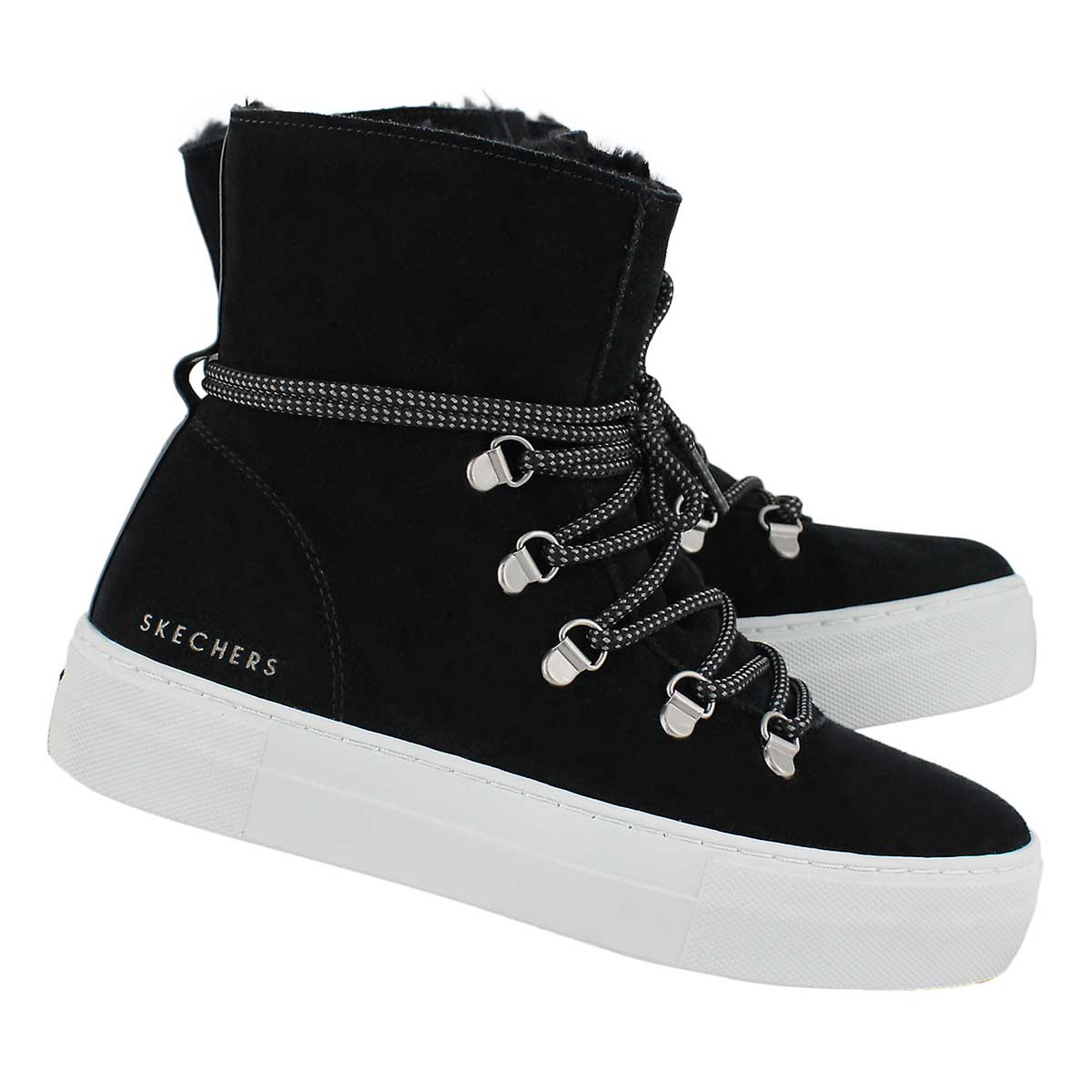 Lds Alba blk lace up tall snkr boot