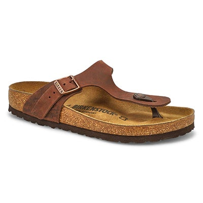 Birkenstock Women's GIZEH havana leather thong sandals