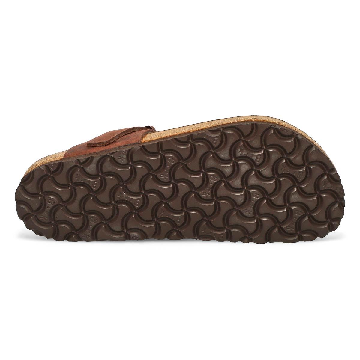 Sandales tongs Gizeh, cuir havane, fem