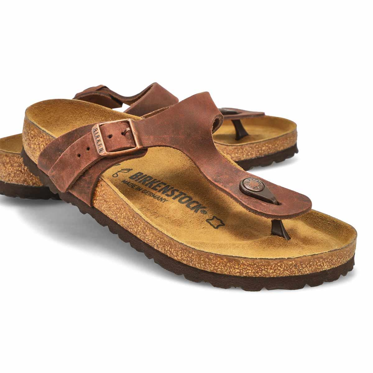 Sandales tongs Gizeh, cuir habane, fem