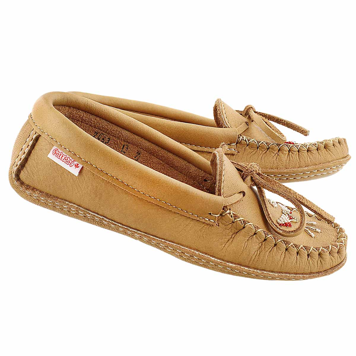 Lds tan double sole moccasin / beads