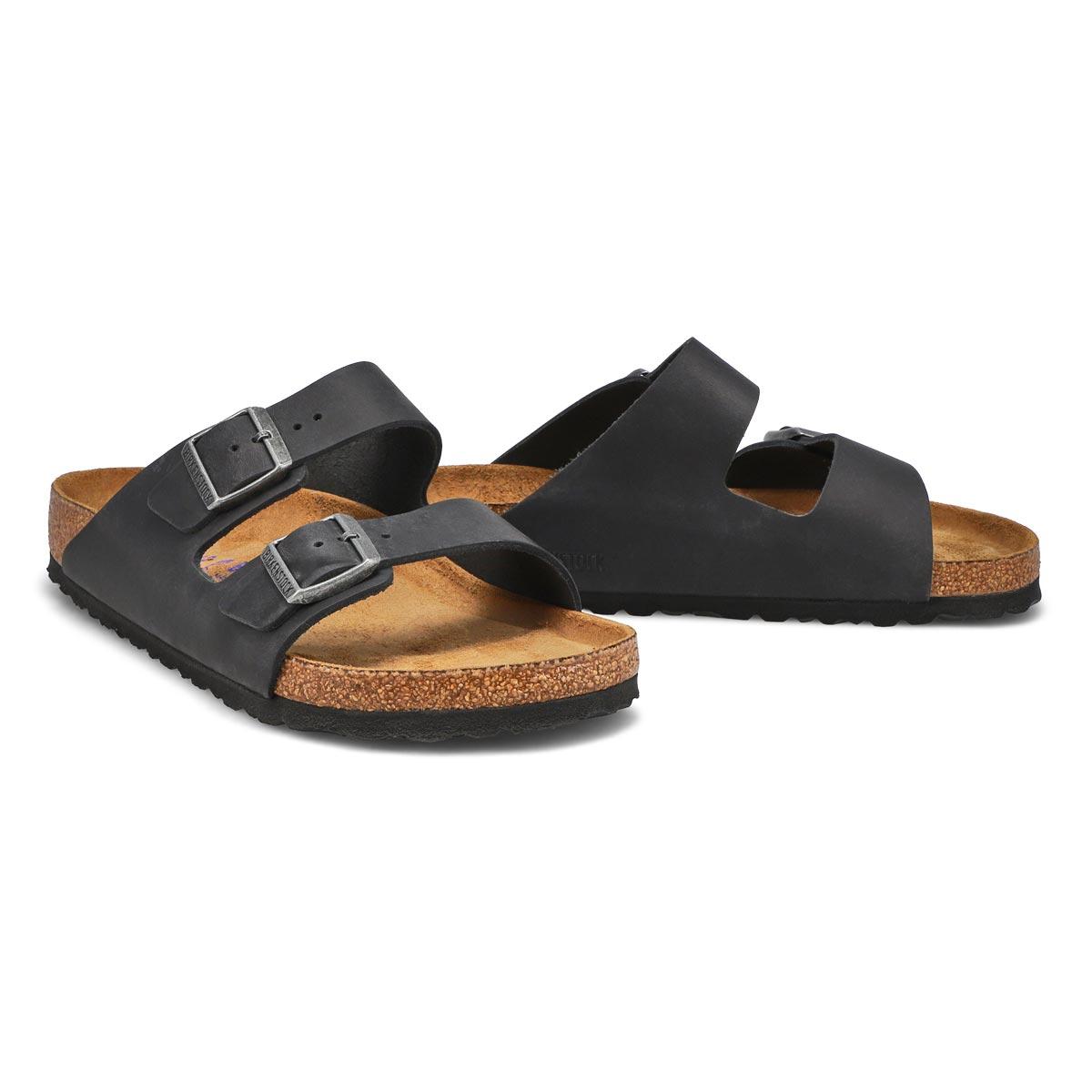 Lds Arizona blk 2 strap lthr sandal SF