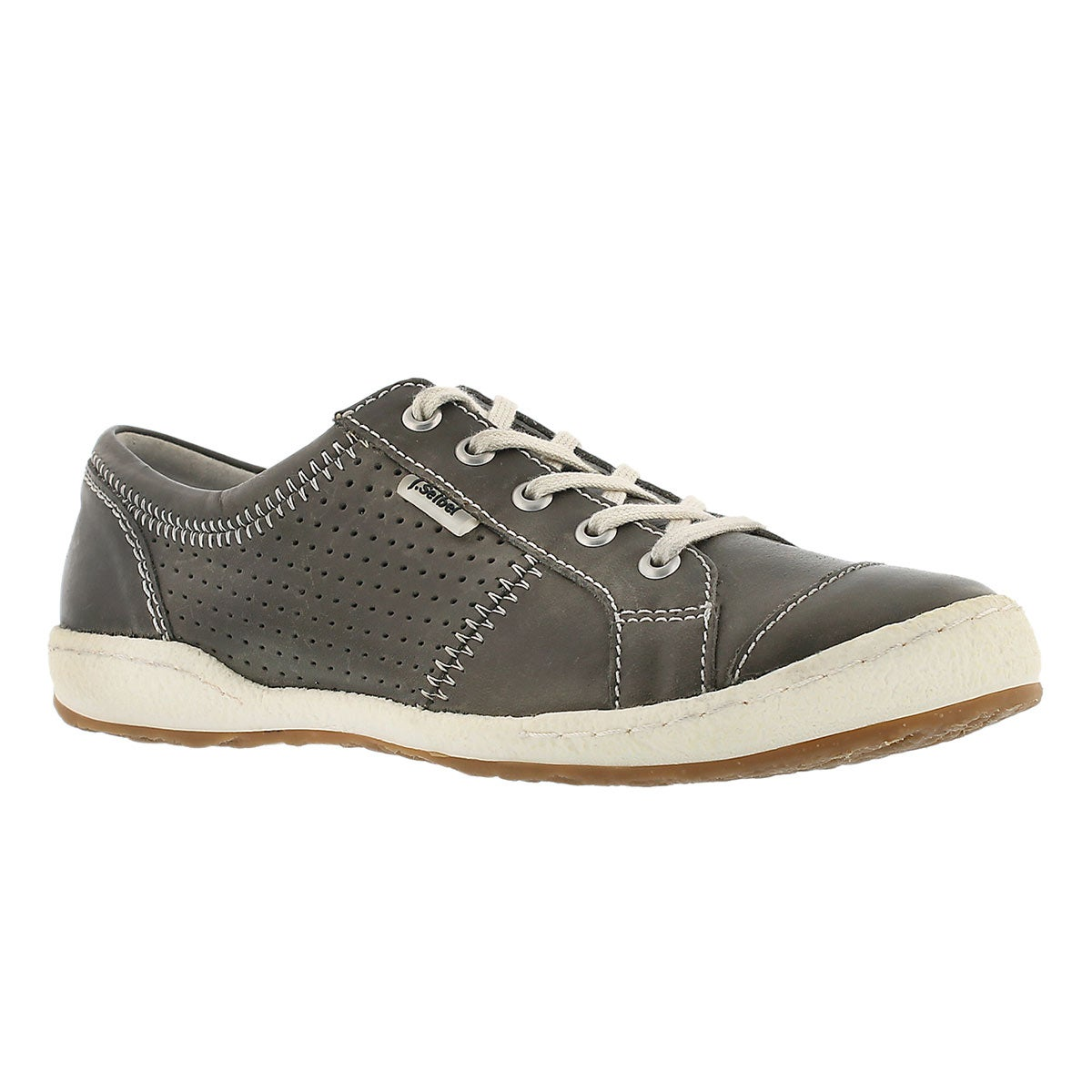 Women's CASPIAN grey leather lace-up casual shoes